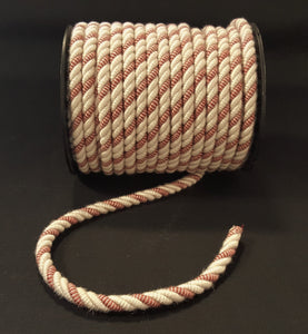 "3/8"" Ivory & Rusty Red Decorative Cording - 5 Yards"