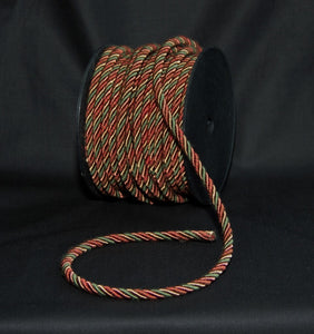 "1/4"" Burgundy, Hunter Green & Tan Decorative Cording"