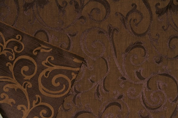 Discount Fabric JACQUARD Dark Brown Scroll Drapery
