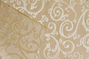 "59"" Beige Scroll Jacquard Drapery Fabric"