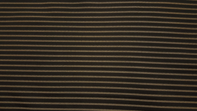 Discount Fabric JACQUARD Black & Taupe Stripe Drapery