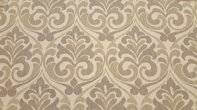 Discount Fabric JACQUARD Beige & Taupe Scroll Drapery