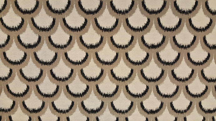 Discount Fabric JACQUARD Black, Gray & Light Taupe Abstract Seashell Drapery