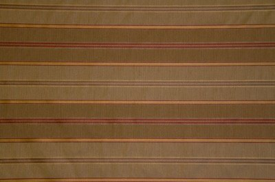 Discount Fabric JACQUARD Taupe & Deep Red Stripe Drapery