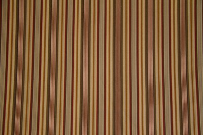 Discount Fabric JACQUARD Olive, Gold & Red Stripe Drapery