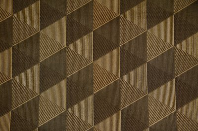 Discount Fabric JACQUARD Gold & Black Diamond Drapery