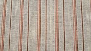 Discount Fabric OPEN WEAVE DRAPERY Burnt Orange & Cinnamon Stripe