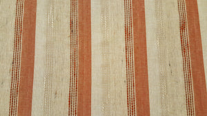 Discount Fabric OPEN WEAVE DRAPERY Rust, Brown, Tan, Oatmeal & Light Beige Stripe