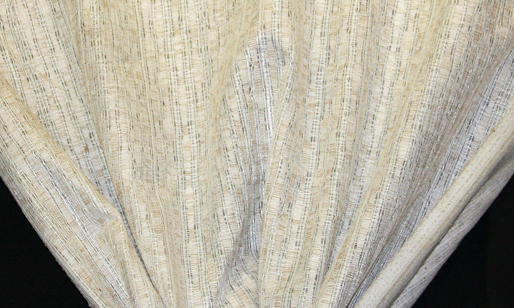 Discount Fabric OPEN WEAVE DRAPERY Gold & Ivory Flax Stripe
