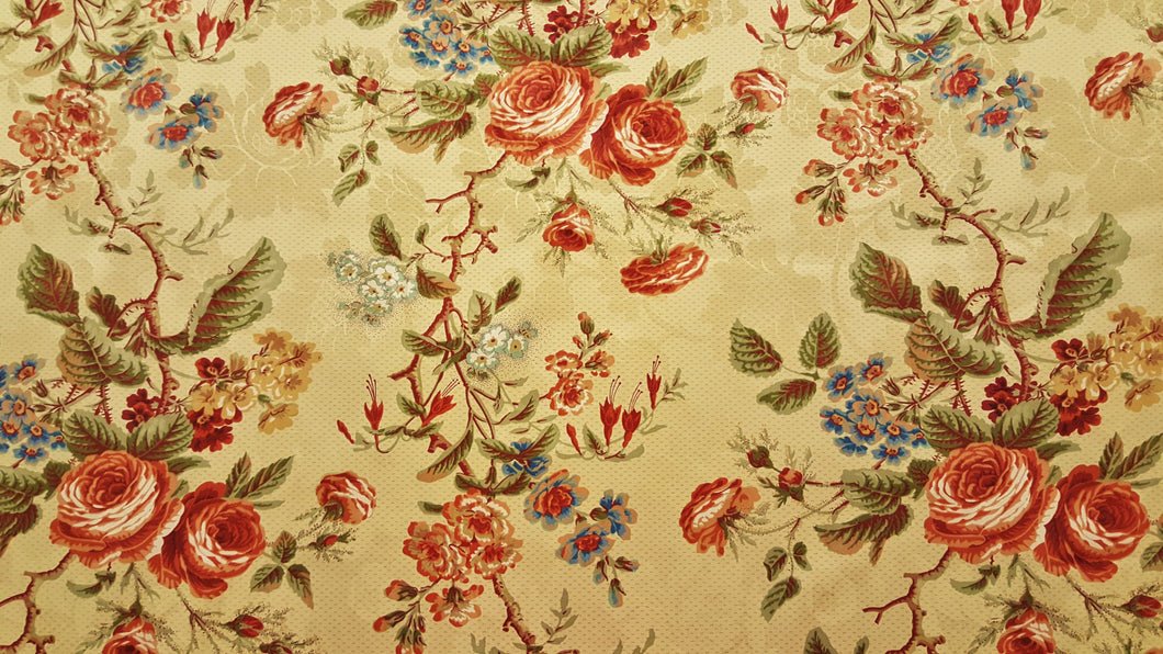 Discount Fabric DRAPERY Burgundy, Sage & Cream Rose Floral