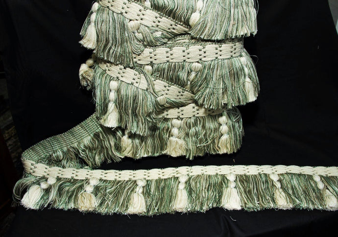 Aqua Green & Creme Decorative Fringe