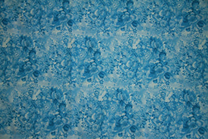 "108"" Turquoise Extra Wide 100% Cotton Fabric - Faded Floral"