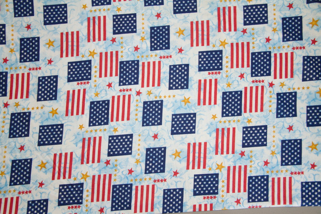 Stars & Stripes On Blue Double Napped Flannel