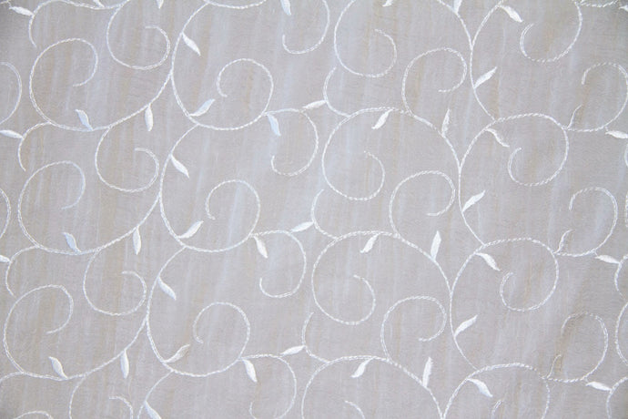 Discount Fabric SHEER Winter White Vine Embroidered Crushed Voile