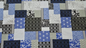 "90"" Foulard (Geometric) Blue Cheater's Quilt Fabric"