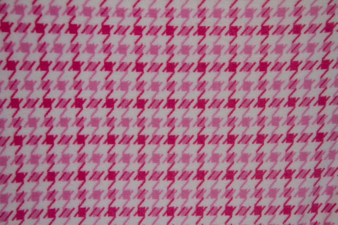 Ultra Plush Whisper Fleece Fabric--Hounds Tooth Pink