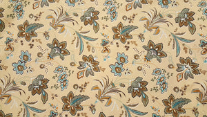 "102"" Teal & Tan Floral EXTRA WIDE Percale Sheeting Fabric"