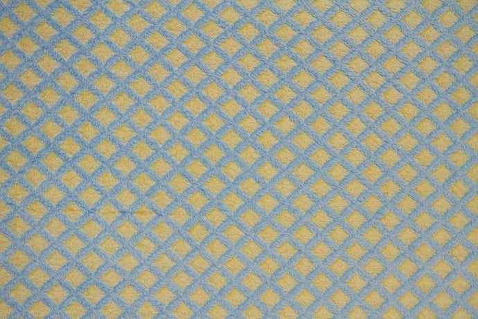 Ultra Plush Whisper Fleece Fabric--Lattice Yellow & Blue