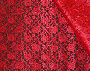 Red Raschel Lace - WHOLESALE DISCOUNT FABRIC - 15 Yard Bolt