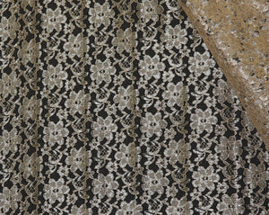Gold Raschel Lace - WHOLESALE DISCOUNT FABRIC - 15 Yard Bolt