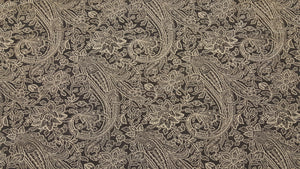 "Discount Fabric POLY/COTTON - 14"" Wide - Black & Ivory Paisley & Floral"
