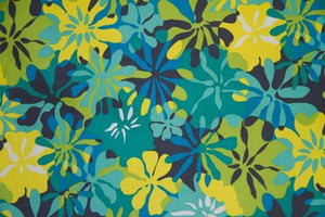 "5 Yards--SALE FABRIC--59"" Aqua & Yellow Floral Indoor & Outdoor Fabric"