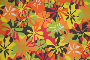 "59"" Orange/Lime Green Floral Indoor & Outdoor Fabric"