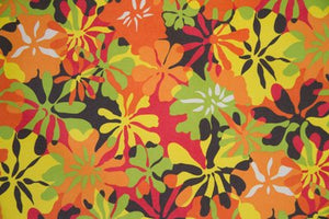 "5 Yards--SALE FABRIC--59"" Orange/Lime Green Floral Indoor & Outdoor Fabric"