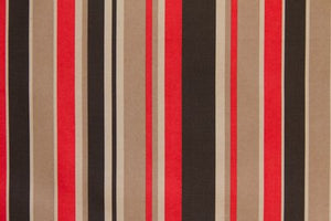 "59"" Red & Black Stripe Indoor & Outdoor - SALE FABRIC - 5 Yards"