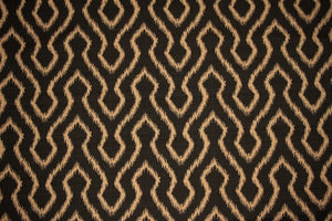 Discount Fabric DRAPERY Black & Taupe Arrow
