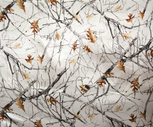 True Timber White Snowfall Camouflage Charmeuse Satin Fabric