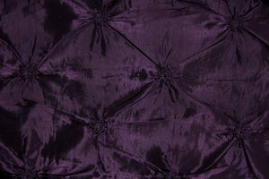 Purple Button Tuck Taffeta Fabric