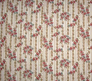 "54"" Cream Red Calico Fabric"