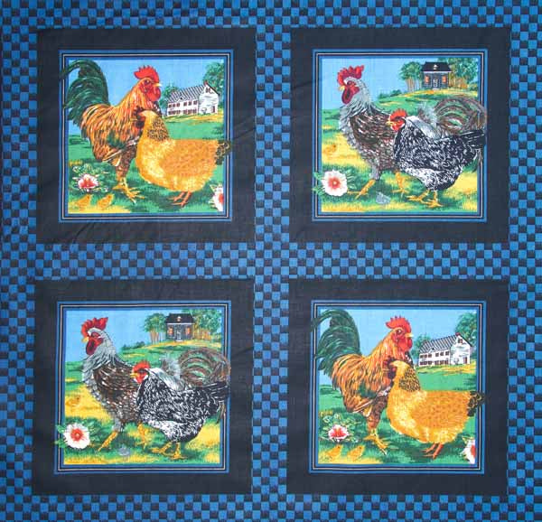 Roosters Blue Cheater's Quilt Fabric
