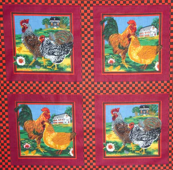 Roosters Red Cheater's Quilt Fabric