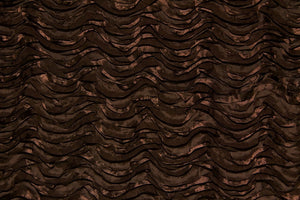 Chocolate Brown Ribbon Wave Rosette Taffeta Fabric