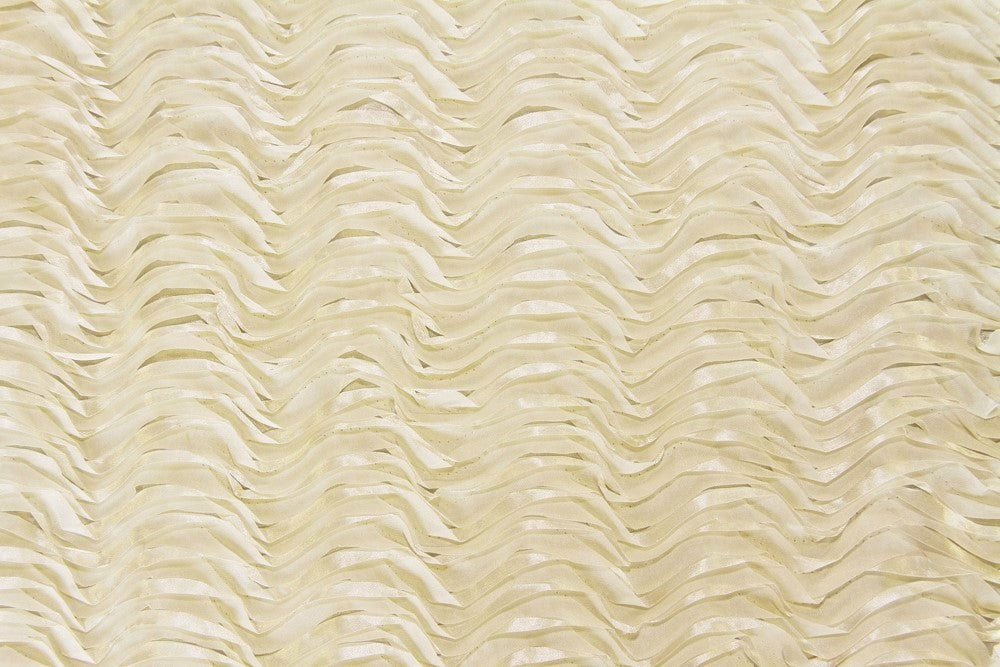 Ivory Ribbon Wave Rosette Taffeta Fabric