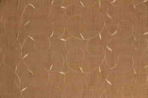 Discount Fabric SEMI-SHEER Spice Embroidered Drapery