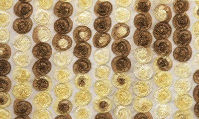 Brown & Yellow Small Organza Rosette on Creme Taffeta Fabric