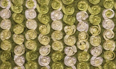 Olive Small Organza Rosette on Dark Olive Taffeta Fabric