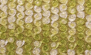 Celery Small Organza Rosette on Light Olive Taffeta Fabric