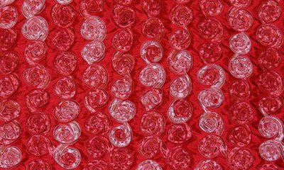 Coral Small Organza Rosette on Red Taffeta Fabric