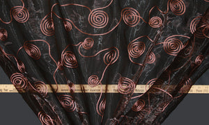 Brown Spiral Ribbon Organza Fabric