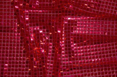 Red Square Sequin Knit Fabric
