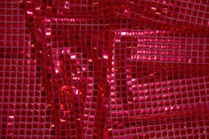 Red Square Sequin Knit - WHOLESALE FABRIC - 12 Yard Bolt