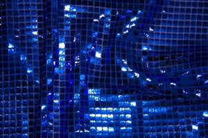 Royal Blue Square Sequin Knit - WHOLESALE FABRIC - 12 Yard Bolt