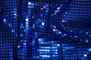 Royal Blue Square Sequin Knit Fabric