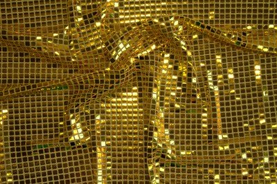 Gold Square Sequin Knit - WHOLESALE FABRIC - 12 Yard Bolt