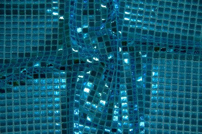 Turquoise Square Sequin Knit - WHOLESALE FABRIC - 12 Yard Bolt