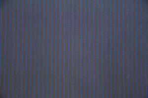 "67"" Gray and Blue Stripe Poly/Cotton Fabric"